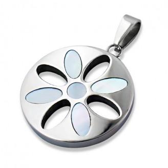 """Ocelový přívěsek z chirurgické oceli """"Květinka v kruhu"""""""